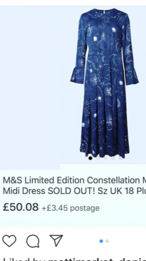 blue dress with stars constellation design.